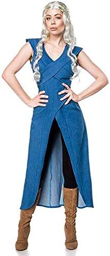 Mother of Dragons Damen Kostüm für Daenerys und Game of Thrones Fans 3tlg blau Schwarz- L