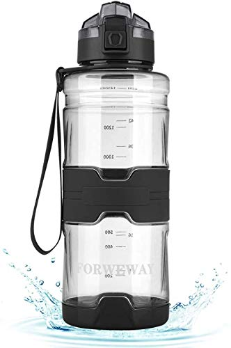 フィルター付き1.5L ウォーターボトル FORWEWAY BPAフリー大容量ウォーターボトル食品グレードの素材再利用可能な100%漏れ防止設計自動ポップアップ直接飲用スポーツボトルは含まれていません (ブラック)