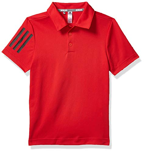adidas Jungen Poloshirt mit 3 Streifen, Jungen, Polo, 3-Stripes Polo Shirt, Collegiate Red, X-Small