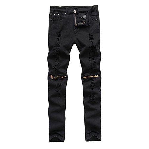 Alamor Heren Punk Stijl Ripped Jeans Skinny Potlood Broek Rits Knie Broek 4 Kleuren-Zwart-34