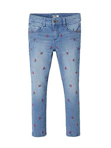 Vertbaudet Mädchen Slim-Fit-Jeans Bestickt Double Stone Kirschen 122