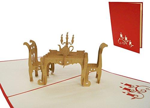 Lin Pop - Up 3D Karten Klappkarten Gutschein Dinner Einladung Gourmet Essensgutscheine, N126