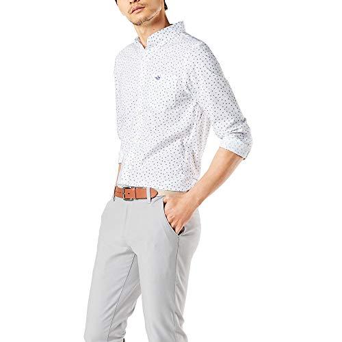 dockers Herren Long Sleeve Front Shirts Button Down Hemd, Konfetti aus Papier, Weiß, Blau, XX-Large