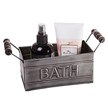 Country Chic Vintage Inspired Bathroom Storage Bin, Tin Metal Toiletries Organizer, BATH Embossed Design, Small Size, 7-inch