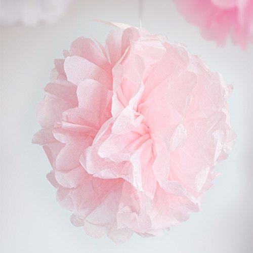 Werbewas 10er Set Pompoms aus Seidenpapier für Blumen / Bälle als Deko für Hochzeiten, Feiern, Partys, Geburtstage, Baby Shower, Taufe und weitere Anlässe – rosa 20cm
