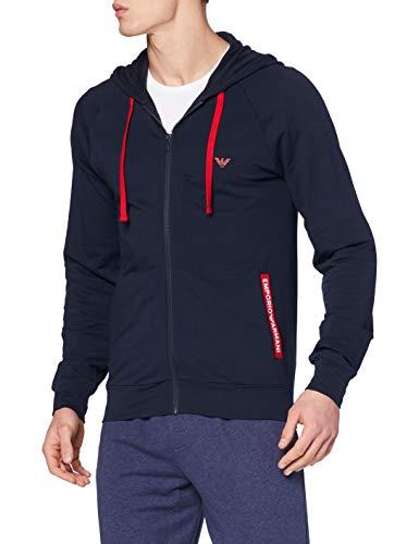Emporio Armani Underwear Sweater Stretch Terry Felpa con Cappuccio, Blu Marino, XL Uomo