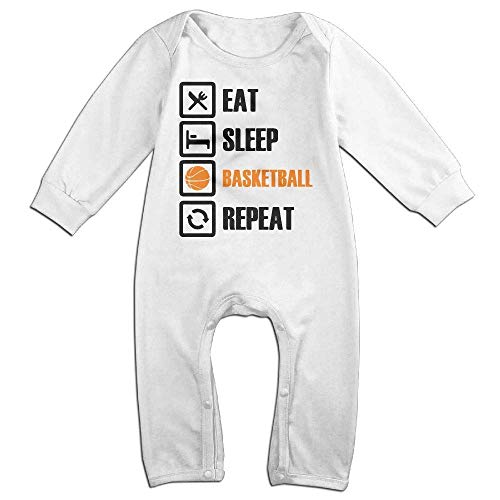 TOPDIY Eat Sleep Basketball Repeat Long Sleeve Baby Bodysuit Bodysuit