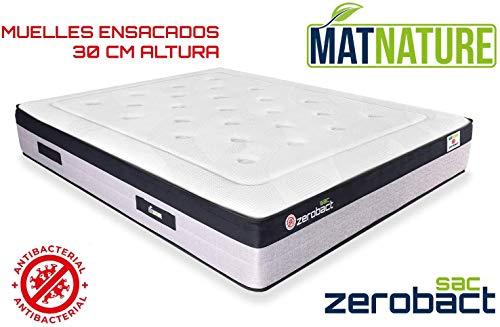 Matnature | Colchón Antibacterial Modelo Zerobact Sac | Altura 30 cm | Colchón Viscoelástico | Colchón Muelle Ensacado |...