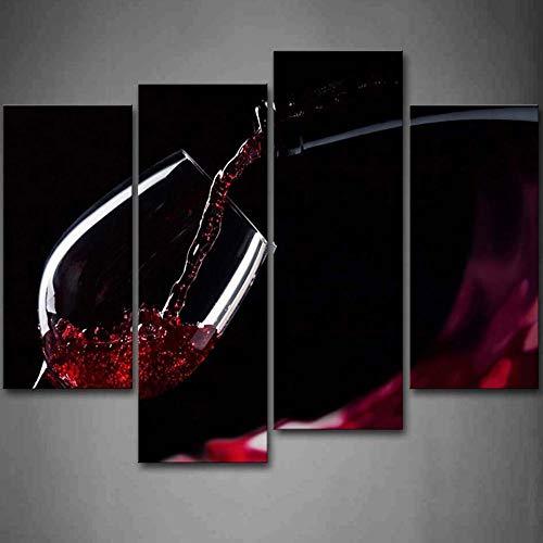 HD Canvas Decoración del hogar Arte 4 Piezas/Set Vino tinto en el vaso Moderno para pinturas Cuadro impreso en la pared-40x80cmx2 40x100cmx2 Sin marco