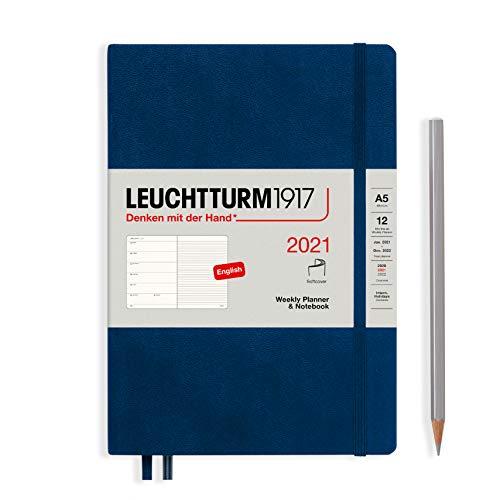 LEUCHTTURM1917 Wochenkalender & Notizbuch 2021 Softcover Medium (A5), 12 Monate, Marine, Englisch