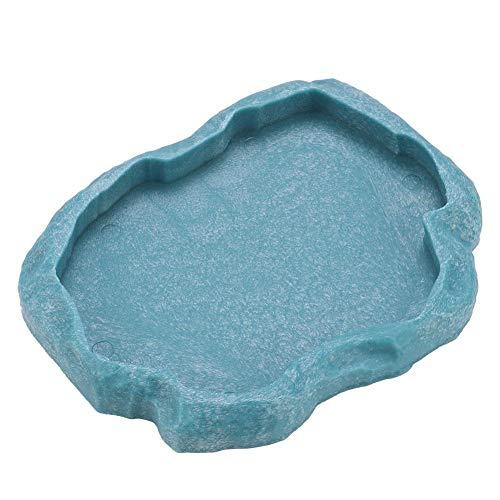 Hffheer Wasserschale für Reptilien, langlebig, Rock Feeder Bowl, Schildkröte, Eidechsenharz, Wasserschüssel, Reptilien, Terrarium, flach (M-blau)
