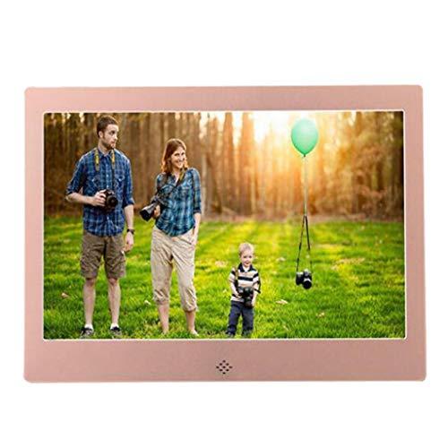 LYEC3 10-Zoll-Metall-LED-Digitale Bilderrahmen 720P Videomusikkalender-Uhr-Player 1024x600 Auflösung (Color : White)