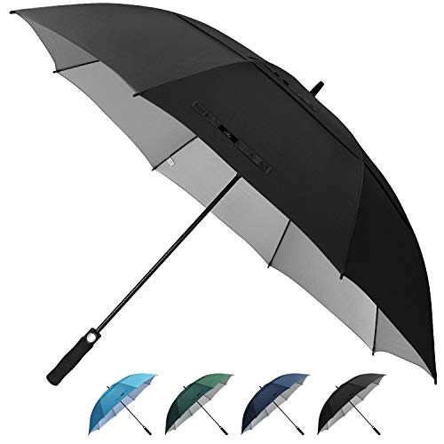 Prospo Golf Umbrella UV Protection 62 inch Auto Open Large Windproof Stick Vented Sun Rain Umbrellas Dark Green