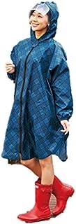 英国調チェックレインポンチョ レインコート レインウェア レインポンチョ カッパ ブルー