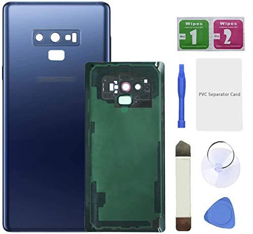 Eonpam Tapa batería Vidrio Trasera Reemplazo para(Samsung Galaxy Note 9) Kit reparación Original Cristal Trasero con Lente de cámara (Azul)