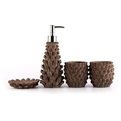 Despachador de Jabón 4-pieza de resina de accesorios de baño set incluye jabón líquido o dispensador de la loción del vaso, plato de jabón - Sostiene 220ml simulada realista del cono del pino Diseño D