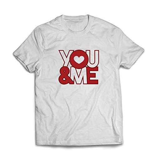 lepni.me Camisetas Hombre ¡Tu y yo! Te Amo, Dulce corazón Idea de Regalo del día de San Valentín (XXX-Large Blanco Multicolor)
