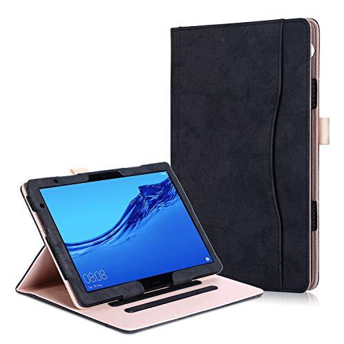 Huawei MediaPad T5 10 / M5 Lite 10 Hülle - PU Lederhülle Schutzhülle Cover Tasche mit Stylus-Halterung für Huawei MediaPad T5 / M5 Lite Tablet-PC (25,6 cm, 10,1 Zoll) 2018 Modell, Schwarz