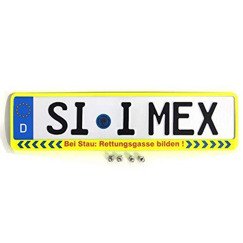 i-mex 1 x Kennzeichenhalter | Bei Stau: RETTUNGSGASSE BILDEN | NEON-GELB | inkl. 4 x Befestigungsschrauben A2 | Nummernschildhalter | DHL-Versand