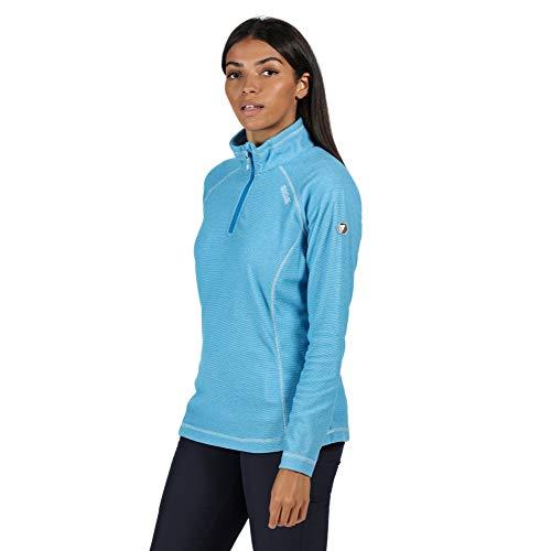 Regatta Women's Montes' Lightweight Half Zip Mini Stripe Micro Fleece, Blue Aster, 14