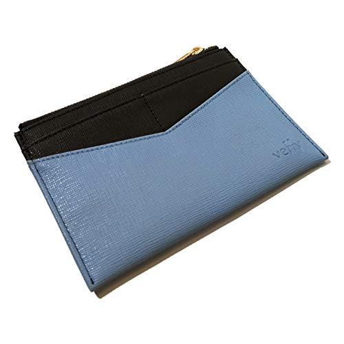 veffy 通帳ケース スキミング防止 磁気防止 革 薄型 チケットホルダー 小銭入れ カード入れ パスポートケース 旅行便利グッズ (Blue)