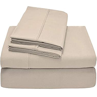 Bare Home Premium 1800 Ultra-Soft Microfiber Collection Sheet Set - Double Brushed - Hypoallergenic - Wrinkle Resistant - Deep Pocket (Queen, Sand)