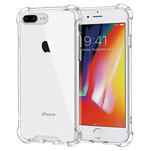 MoKo Case Compatibile con iPhone 8 Plus / 7 Plus - [Anti Scivolo & Graffi] Custodia Rigida con TPU Tecnologia Angoli + Pannello Posteriore per iPhone 8 Plus/iPhone 7 Plus 5.5', Crystal Clear