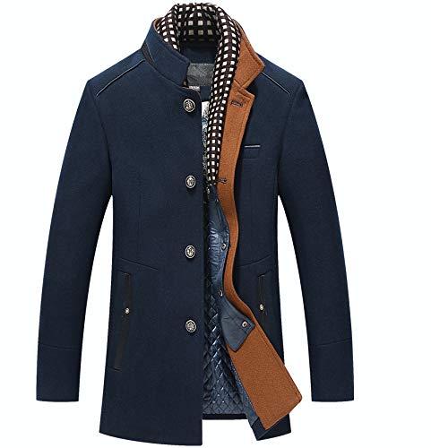 Biutimarden Warme Wolle Coat Wintermantel Jacke Herrenmantel Business Mantel Frei Abnehmbares Futter mit Soft Touch Plaid Stilvollem Ausschnitt (Navy blau L)