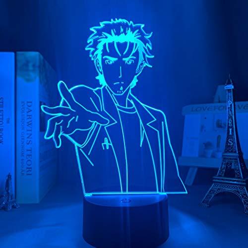 Steins Gate Rintarou Okabe Lámpara Decorativa de Mesa de 3D con Luz de Noche Luces Led Funciona con Pilas para Fiestas Bodas Festivales Decoración del Hogar Disposición Romántica