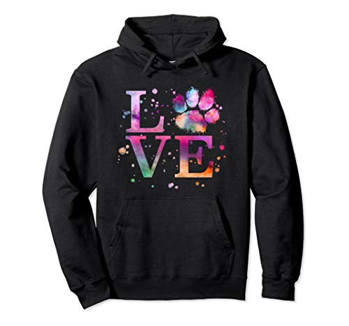 Love Dog Paw Print Colorful National Animal Shelter Week Pullover Hoodie