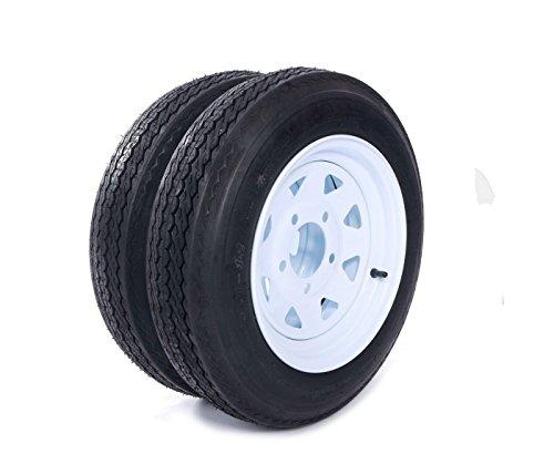"""MILLION PARTS Set of 2 12"""" Trailer Tires Rims 4.80-12 480-12 4.80 X 12 5 Lug 4PR Wheel White Spoke"""