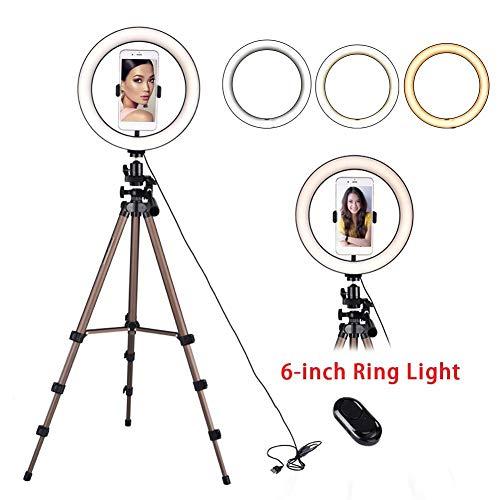 LED Ring Light Kit Met Statief Stand Telefoonhouder Dimbaar 3 Kleuren 6 '' Met Bluetooth Remote Shutter Voor Make-up Live Stream Fotografie Video