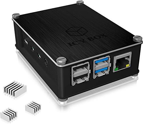 ICY BOX Raspberry Pi 4 Gehäuse, Aluminium, luftdurchlässiges Seitengitter, auch Raspberry Pi 3B+, 3 & 2, Schwarz