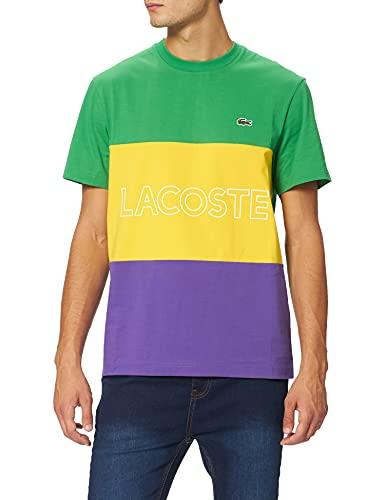 Lacoste Herren TH7059 T-Shirt, Malachite/Genet-Lavande, XL