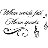 Home Find When Words Fail, Music Speaks Inspiring Quotes Sayings Words Art Decals Inspirational Lettering Vinyl Wall Art for Music Room Living Room Bedroom 22 inches x 13 inches
