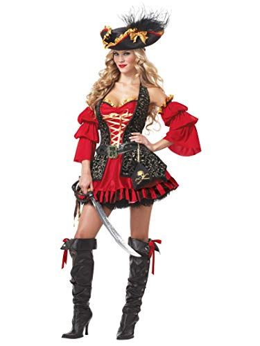 California Costumes Women's Eye Candy - Spanish Pirate Adult, Black/Red, X-Large
