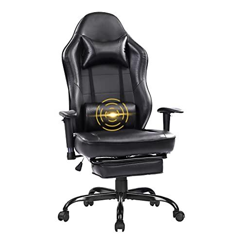 Wolmics Massage Gaming Stuhl - Hohe Rückenlehne Racing Computer Schreibtisch Bürostuhl Drehbarer Ergonomischer Chefsessel aus Leder mit Fußstütze und Verstellbaren Armlehnen8332BLK