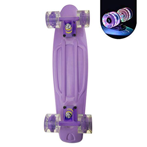 HAOCAI 22 inch Cruiser Board Mini Skateboards for Beginners or Professionals with High Rebound PU Wheels