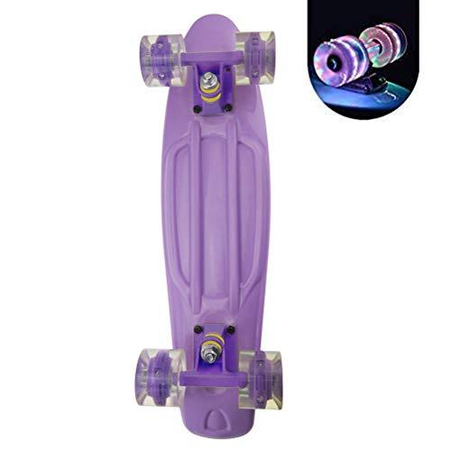 BSTCAR 56CM Mini Skateboard Mit Leuchtenden Pu-rädern, Retro-Stil, für Anfänger Oder Jungen Mädchen Kinderjugendliche Erwachsene