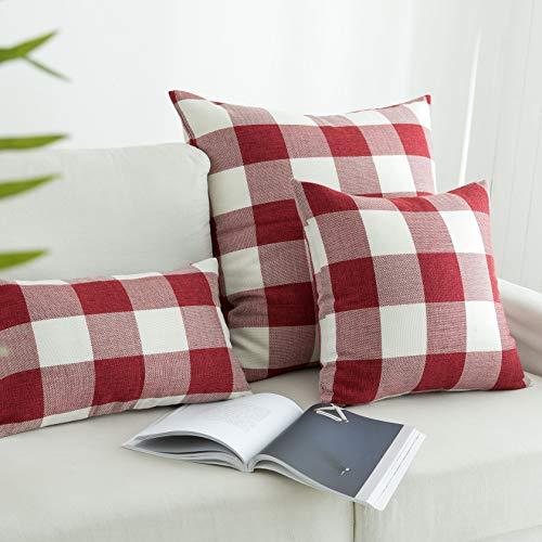 "UGASA Checkered Cushion Covers Cotton Linen Christmas European Euro Pillow Case Cushion Case for Floor Bedroom, 26"" x 26"", 2 Pcs, Red White"