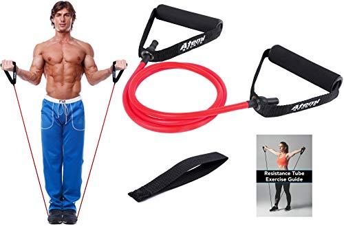 Atemi Sports Fitnessband mit Griffen & Türanker | Widerstandsband für Krafttraining & Physiotherapie | Kostenlose Übungsanleitung (#2 Rot (Mittel))