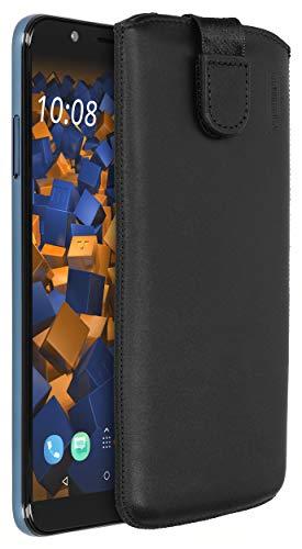 mumbi Echt Ledertasche kompatibel mit HTC U12 Life Hülle Leder Tasche Case Wallet, schwarz