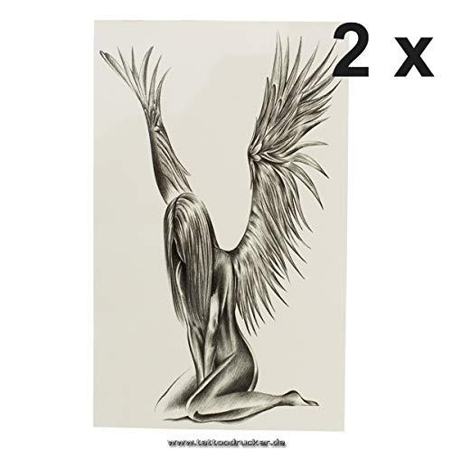Engel - naakte vrouw met vleugels - zwarte body Temporary Fake Tattoo - AX148