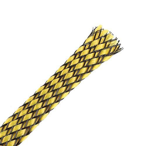 DealMux Funda Trenzada Extensible Pet de 3 pies - 3/8 Pulgadas - Funda de Cable Trenzado 2PCS - Amarillo