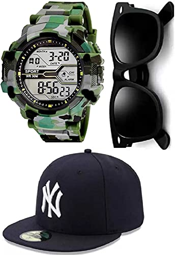 SELLORIA Brand A Army Shockproof Waterproof Digital Sports Black Sunglass with Black Baseball Cap Watch for Mens Kids Sports Watch with Cap for Boys – Military Army Watch for Men