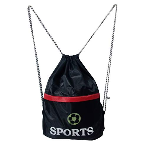 BLOOMUN Boy's and Girl's Polyester 15 L Drawstring Bags Perfect for Sports, Beach Holidays, Swimming, Travel (Black)