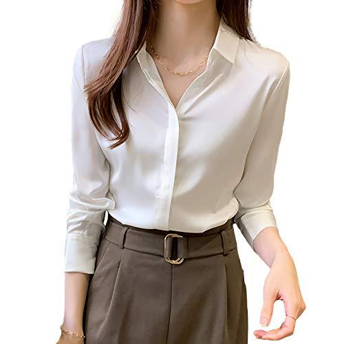 X-xyA Blusa de satén de Seda para Mujer Nueva Primavera Suelta Manga Larga Camisa de satén,Blanco,XL