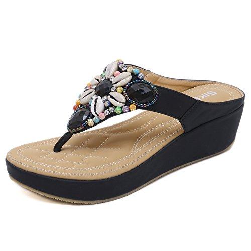 Damen Keilabsatz Flip Flops Perlen Sommer Plateau Zehentrenner mit Strass Böhmische Flache Clip Toe Sandaletten