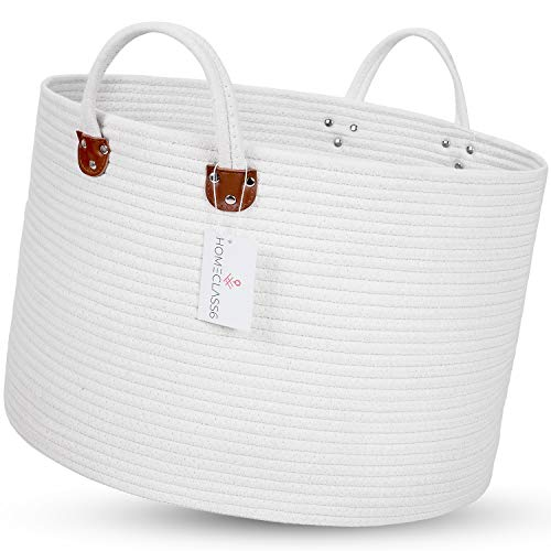 XXL Woven Laundry Basket - 20 x 20 x 13.3 inch Cotton Rope Basket. Woven Storage Basket for Blankets, Toys, Throws, and Pillows. Rope Laundry Basket and Storage Basket with Handles. Off White