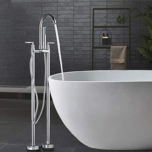 Great Price! Linyuan Chrome Polished Bathtub Double Handles Floor Mounted Free Standing Bathroom Ves...